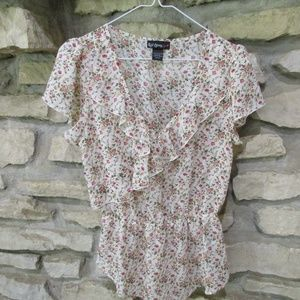 Sheer Polyester Ruffled Top/Tunic Size M